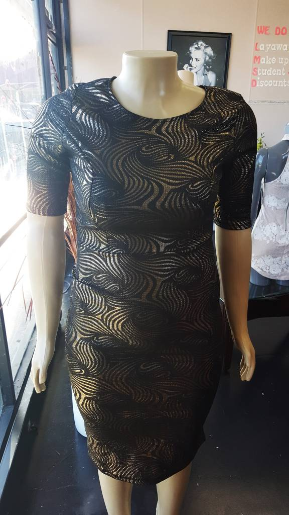 Kafe Plus Size Black & Gold Dress
