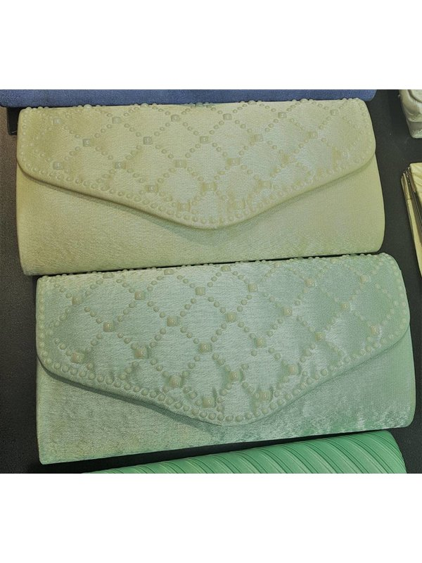 Charming Charlie RSVP Green Pearls Clutch