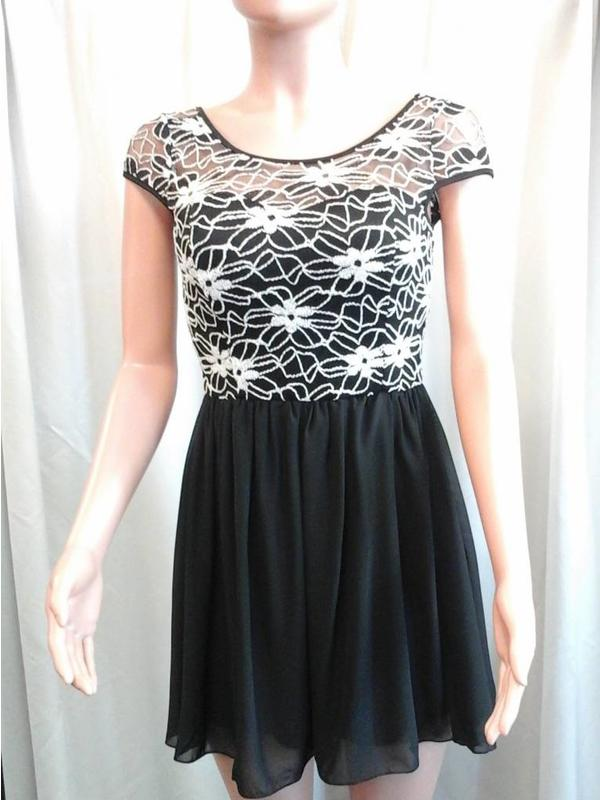 Lace Toped Chifon Dress