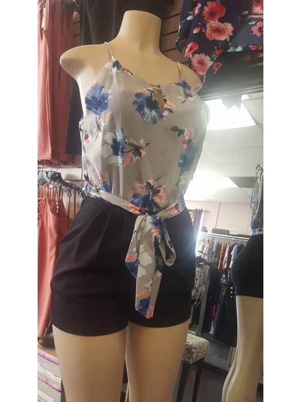 Glow Passion Style Black Shorts Grey Floral Top Romper