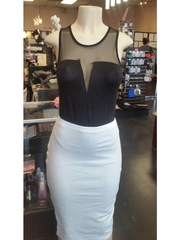 Black bodysuit Sheer V-neck