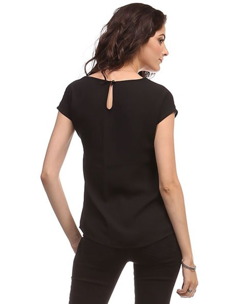 Heart and Hips Front Lace Detail Woven Black Top