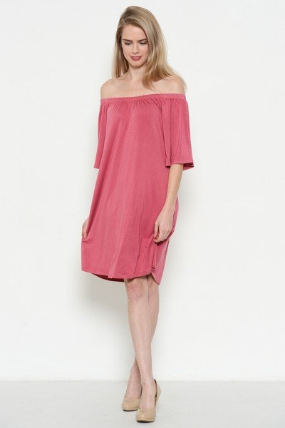 Heart and Hips Off Shoulder Pomegranate Dress