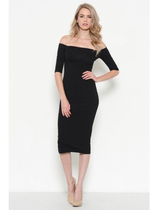Heart and Hips Off Shoulder Black Midi Dress