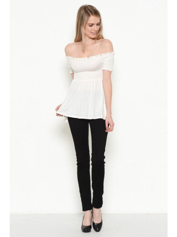 Heart and Hips Elbow Slv White Top