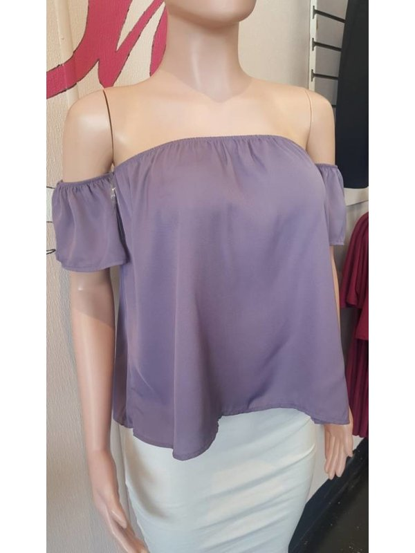 Heart and Hips Off Shoulder Purple Top