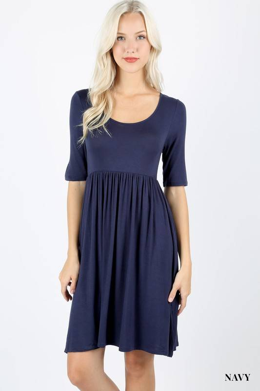 Short Sleeve NAvy Blue Dress