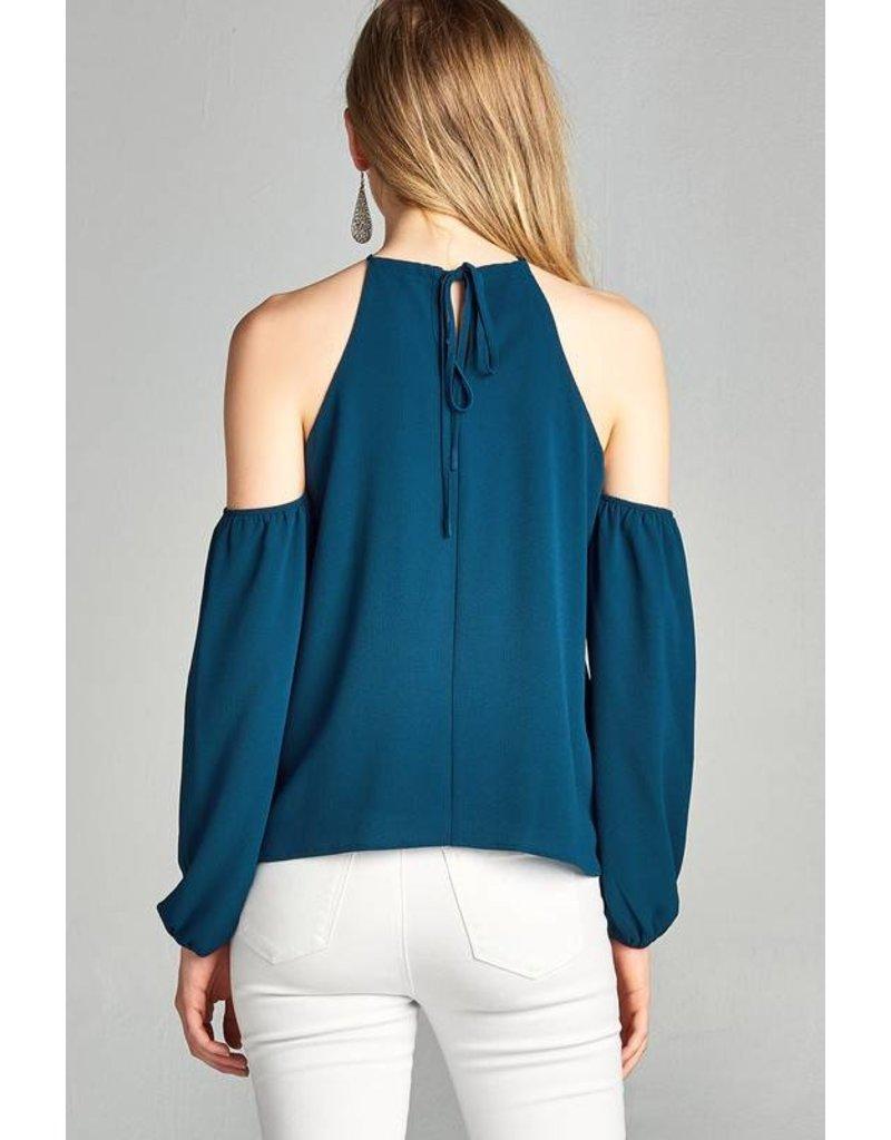Halter Neck Open Shoulder Woven  Mouve Top