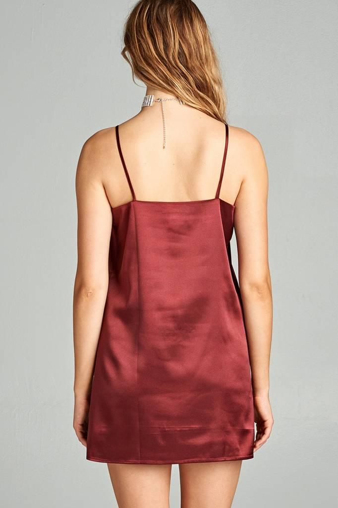 V-Neck Strappy Satin Slip Dress Burgandy
