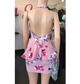 Halter Neck Floral Pink Dress