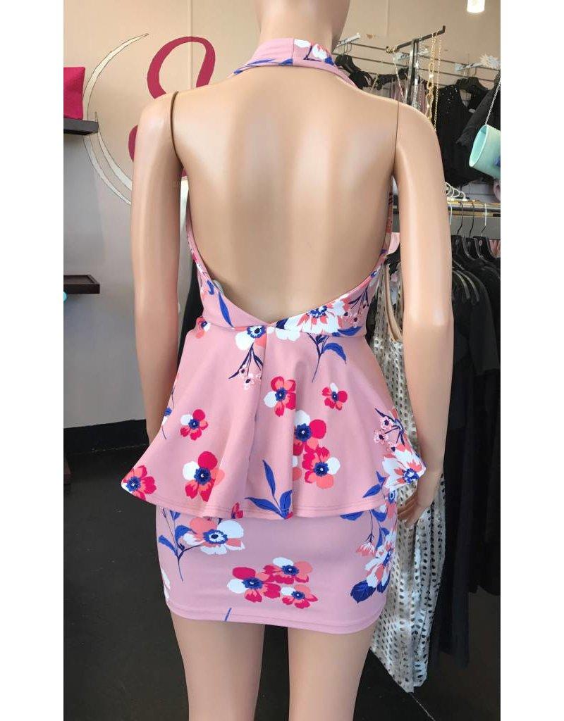 Halter Neck Floral Pink Dress