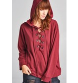 Long Sleeve Grommet French Terry Hoodie Top Burgandy