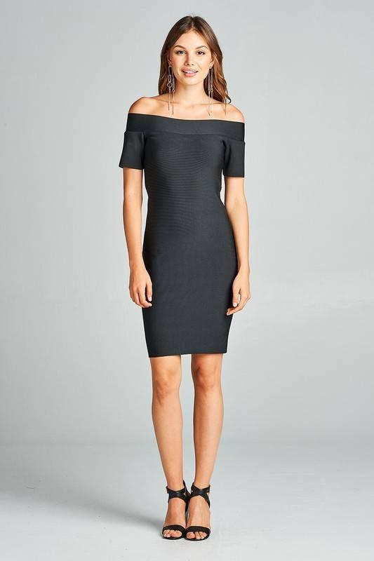 Off The Shoulder Bandage Midi Dress-Black