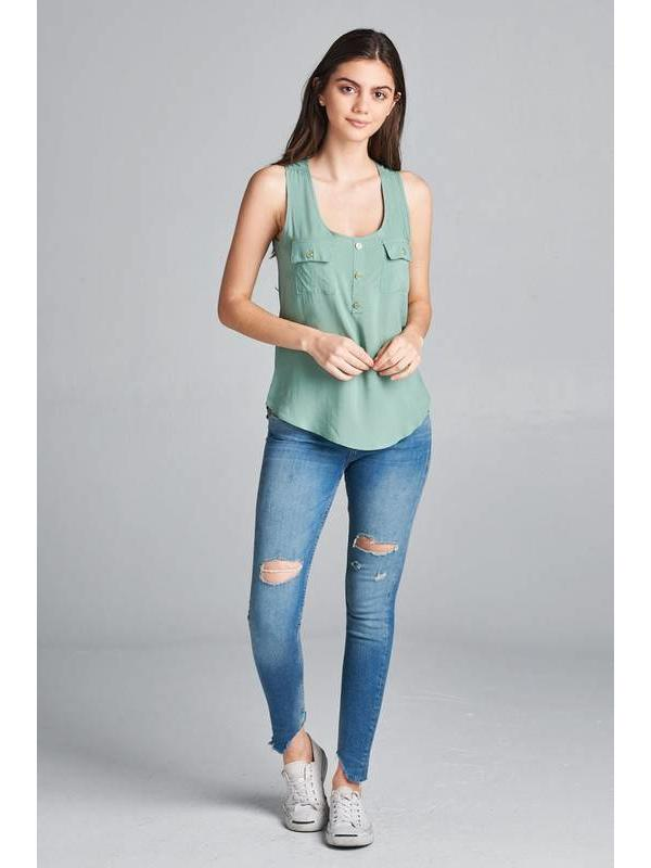 Plus Size Mint Tank Top w\Pocket Detail
