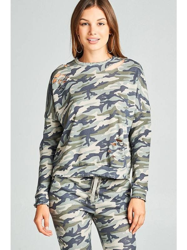 Long sleeve distressed camo printed french terry top