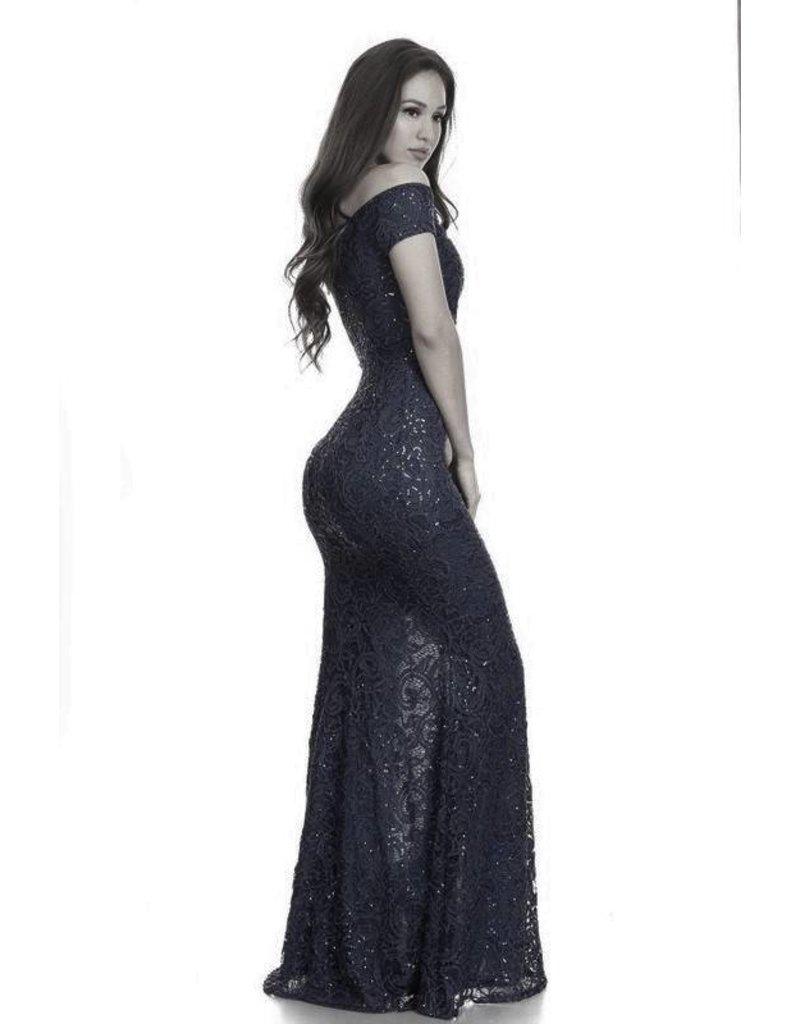 Mermaid Lace Sequin Dress Black