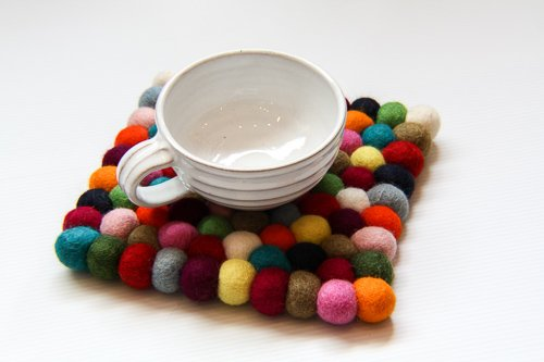 "8.5"" Square Multicolored Felt ball Trivet"