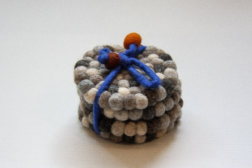Felted Ball Coaster Set