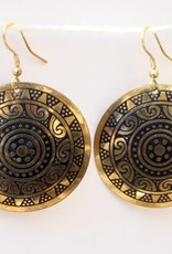 Golden Sun Medallion Hanging Earring