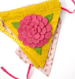 Rose and Bumble Bee Felt Banner