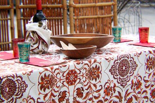 Asha Handicrafts Association Red & Gold Royal Jaipur Tablecloth