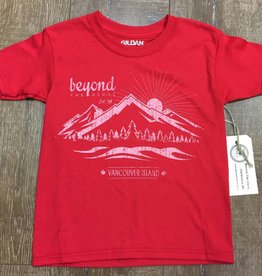 Beyond The Usual BTU Kids Tees Mountain logo- Red