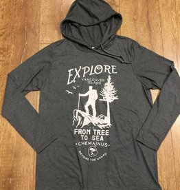 Beyond The Usual BTU Explore Long Sleeve Hooded Tee Grey