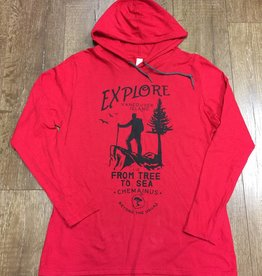 Beyond The Usual BTU Explore Long Sleeve Hooded Tee Red