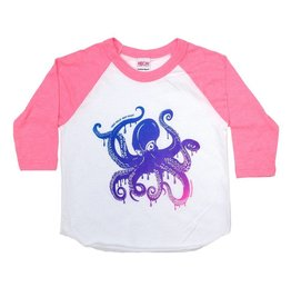 Westcoastees Westcoastees Kid's Octopus Raglan - Pink