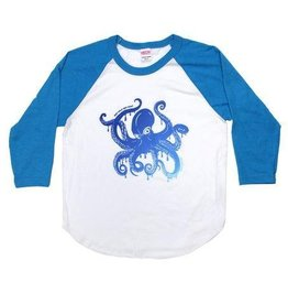 Westcoastees Kid's Octopus Raglan Blue