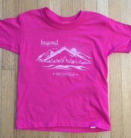 Beyond The Usual BTU Kids Tees Mountain logo- Pink