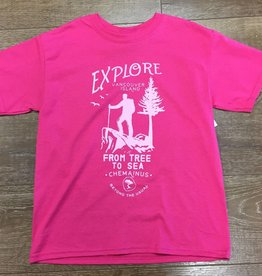 Beyond The Usual BTU Kids Tees Explore logo- Pink