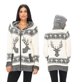 RDS RDS WOMENS ZIP SWEATER ELK