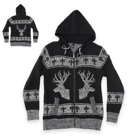 RDS RDS MENS ZIP SWEATER ELK-Blk