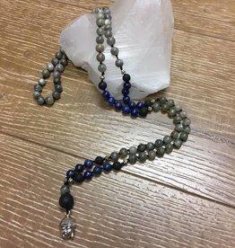 Handmade Mala Lapis Lazuli, Lava & Labradorite