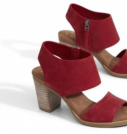 Toms Red Suede Women's Majorca Cutout Sandals