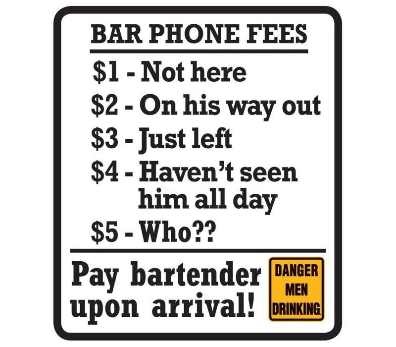 Bar Phone Fees Sign