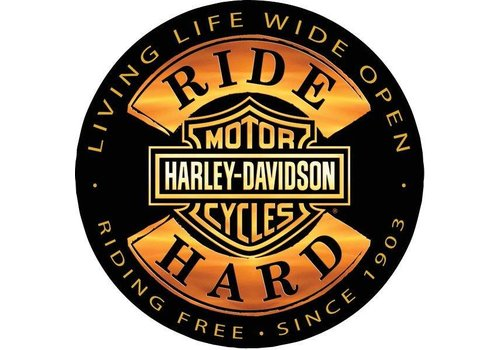 Ande Rooney Harley Davidson Ride Hard Embossed Sign