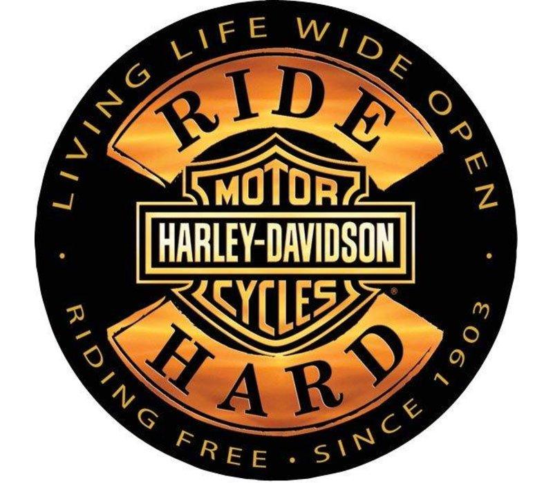 Harley Davidson Ride Hard Embossed Sign