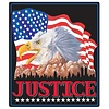 Ande Rooney Justice Eagle Flag Embossed Tin Sign