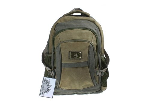 Green & Khaki Canvas Backpack