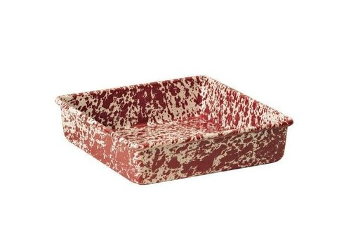 Crow Canyon Enamel Bronnie / Cornbread Pan Red Marble