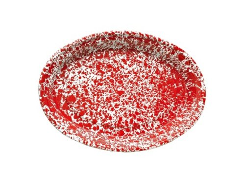 Crow Canyon Enamel Oval Platter Red Marble