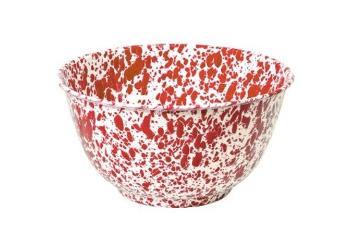 Crow Canyon Enamel Lg Salad Bowl Red Marble
