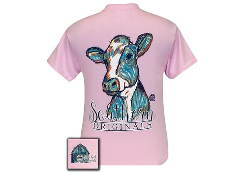 Girlie Girl Girlie Girl | Watercolor Cow Short Sleeve Light Pink