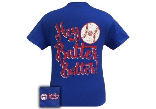 Girlie Girl Hey Batter Batter Short Sleeve Royal Blue YOUTH