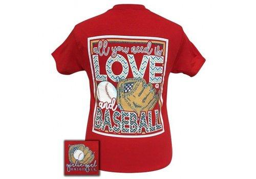 Girlie Girl All You Need is Baseball Short Sleeve Red