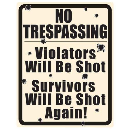 No Trespassing w/ Bullet Holes Tin Sign