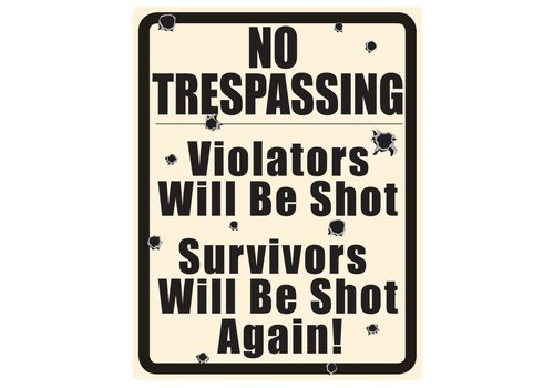 Ande Rooney No Trespassing w/ Bullet Holes Tin Sign