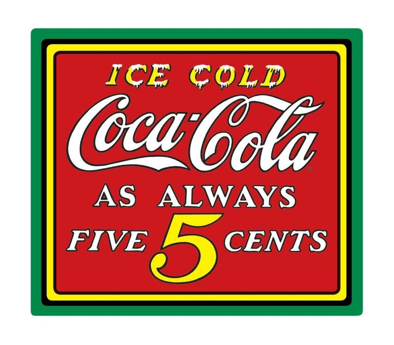 Coke® Ice Cold Five Cents Tin Sign